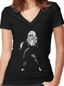 Black Cat Black Night Women's Fitted V-Neck T-Shirt