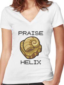 ༼ つ ◕_◕ ༽つ PRAISE HELIX ༼ つ ◕_◕ ༽つ Women's Fitted V-Neck T-Shirt