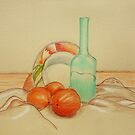 Still life with vase and oranges by Solotry