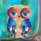 Pearly Owl Acrylic Painting by Kristy Spring-Brown