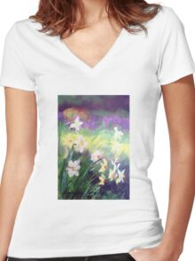 Majestic Daffodils Women's Fitted V-Neck T-Shirt