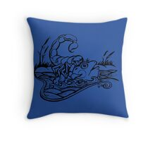 Scorpion and the Frog (black) Throw Pillow