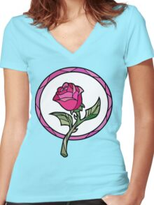 Stained Glass Rose | Beauty and the Beast Women's Fitted V-Neck T-Shirt