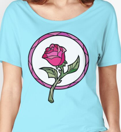 Stained Glass Rose | Beauty and the Beast Women's Relaxed Fit T-Shirt