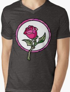 Stained Glass Rose   Beauty and the Beast Mens V-Neck T-Shirt