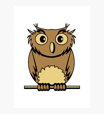 OWL bird nature uhu cool comic Photographic Print
