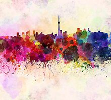 Toronto skyline in watercolor background by Pablo Romero
