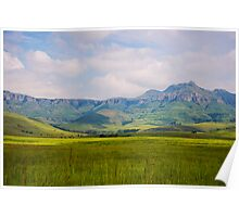 Drakensberg mountains under blue sky Poster