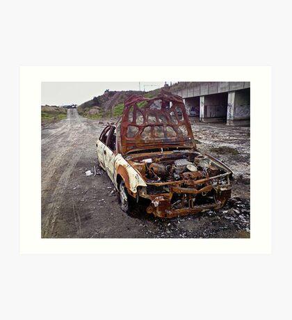 Derelict burnt out car... Art Print