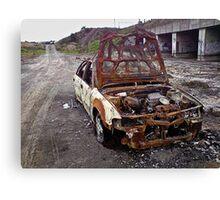 Derelict burnt out car... Canvas Print