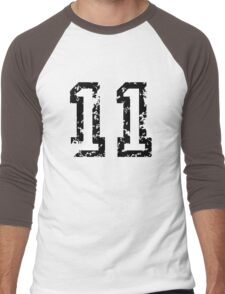 Number Eleven - No. 11 (two-color) white Men's Baseball ¾ T-Shirt