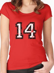 Number Fourteen - No. 14 (two-color) white Women's Fitted Scoop T-Shirt