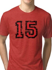 Number Fifteen - No. 15 (two-color) red Tri-blend T-Shirt