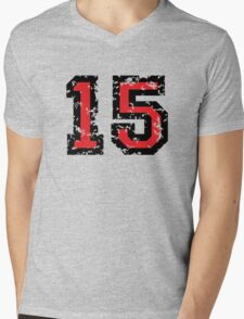 Number Fifteen - No. 15 (two-color) red Mens V-Neck T-Shirt