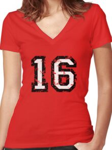 Number Sixteen - No. 16 (two-color) white Women's Fitted V-Neck T-Shirt