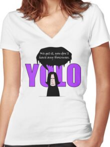 YOLO - We get it, you don't have any horcruxes Women's Fitted V-Neck T-Shirt