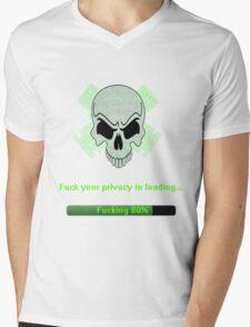 Skull Network Mens V-Neck T-Shirt
