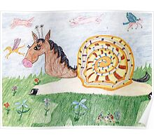 Snail Horse Penelope And The Clouds Poster