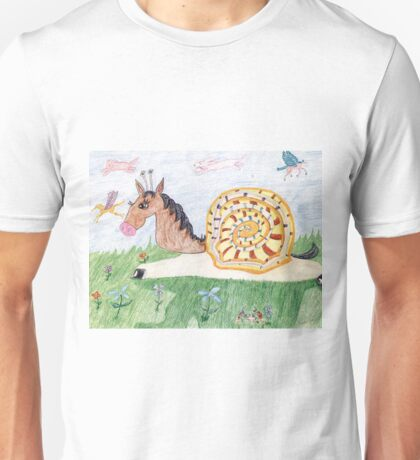 Snail Horse Penelope And The Clouds Unisex T-Shirt
