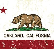 Oakland California Republic Flag Distressed  by NorCal