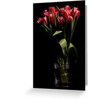 Red tulips in the vase Greeting Card