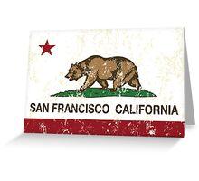 San Francisco California Republic Flag Distressed  Greeting Card