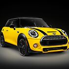Yellow 2014 Mini Cooper S hatchback car art photo print by ArtNudePhotos