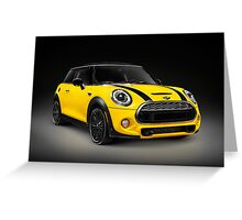 Yellow 2014 Mini Cooper S hatchback car art photo print Greeting Card