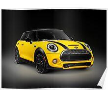 Yellow 2014 Mini Cooper S hatchback car art photo print Poster