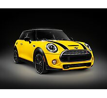 Yellow 2014 Mini Cooper S hatchback car art photo print Photographic Print