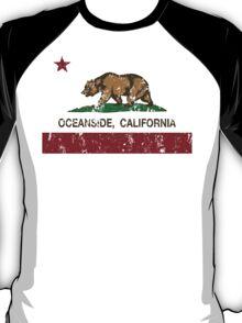 Oceanside California Republic Flag Distressed  T-Shirt