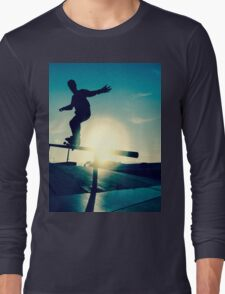 Skateboarder silhouette on a grind Long Sleeve T-Shirt