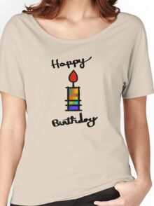 Happy Birthday With Mult-Color Candle Women's Relaxed Fit T-Shirt