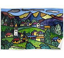 Swiss Folk Scape Poster