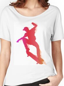 Skateboarder performing a trick Women's Relaxed Fit T-Shirt