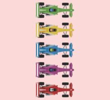 Five Race Cars  One Piece - Short Sleeve