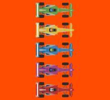 Five Race Cars  Kids Tee