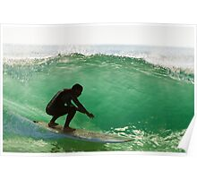 Long boarder surfing the waves at sunset Poster