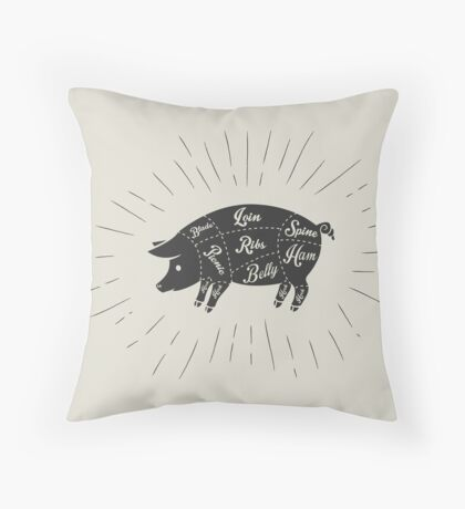 Pork meat cuts  Throw Pillow