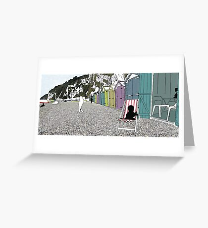 Beach Huts - digital file, decor, wall art, modern, beach, sea side, water, summer, sand, colour, holiday, sun by hannah glanvill Greeting Card