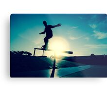 Skateboarder silhouette on a grind Metal Print