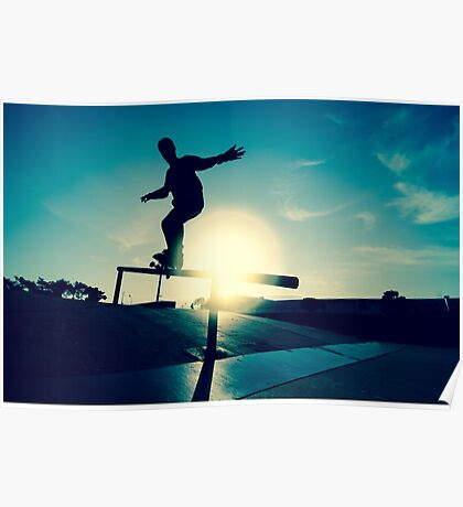 Skateboarder silhouette on a grind Poster