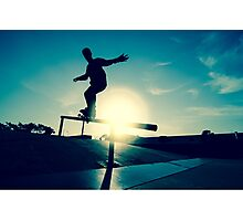 Skateboarder silhouette on a grind Photographic Print