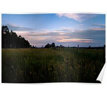 Fence line in the sunset Poster