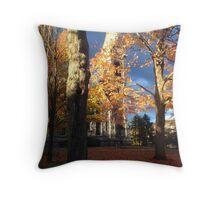 UMass Chapel in the fall Throw Pillow