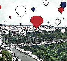 Balloon takeoff variation UK - digital file, summer, decor, wall art, modern, city, balloon, sky, colour, high, festival, bridge by hannah glanvill by goartit