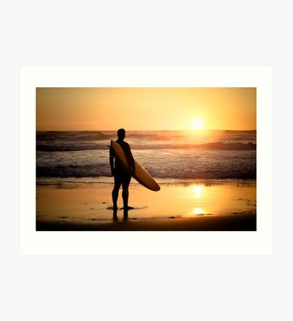Surfer watching the waves Art Print