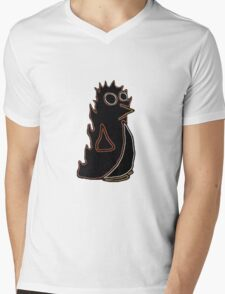 Fire Penguin Mens V-Neck T-Shirt