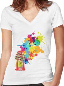 Gumballs & Gumballs & Gumballs Women's Fitted V-Neck T-Shirt