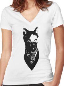 Cat Bandana Women's Fitted V-Neck T-Shirt